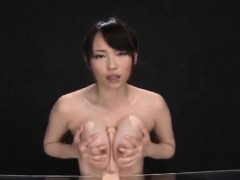 Akane Yoshinaga plays connected with dildo on cans