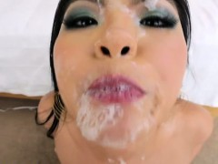 Asian slut sucks and gets facialized