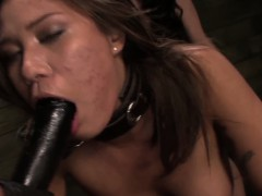Chained lezdomsub strapon penetrated by guestimated duo