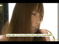 Rio asian teen babe getting her hairy pussy fondled on be imparted to murder bus
