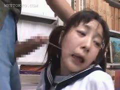 Brunette asian indiscretion fucked hard in school library