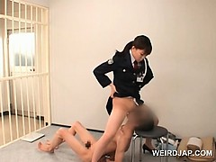 Nasty asian police woman cunt licked apart from sizzling convict
