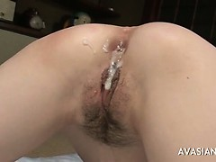 Asians broad in the beam width asshole covered in cum